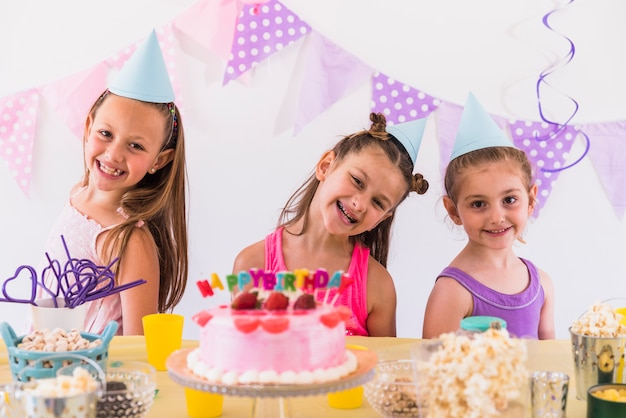 Girls having fun at birthday party
