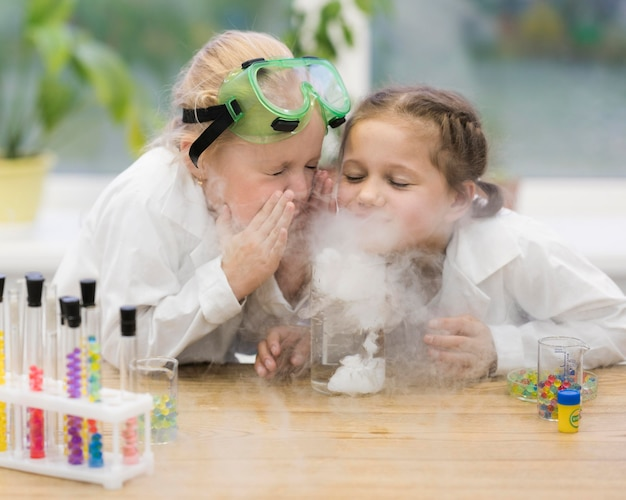 Girls learning science