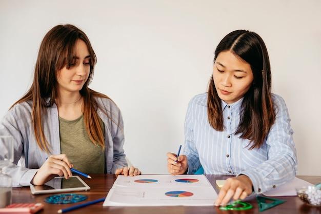 Девушки изучают графики на столе