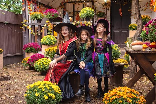 魔女の衣装を着た女の子の姉妹は、ハロウィーンを祝うのを楽しんでいます