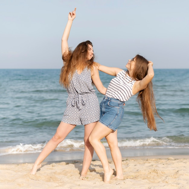 Girls spending time together at beach