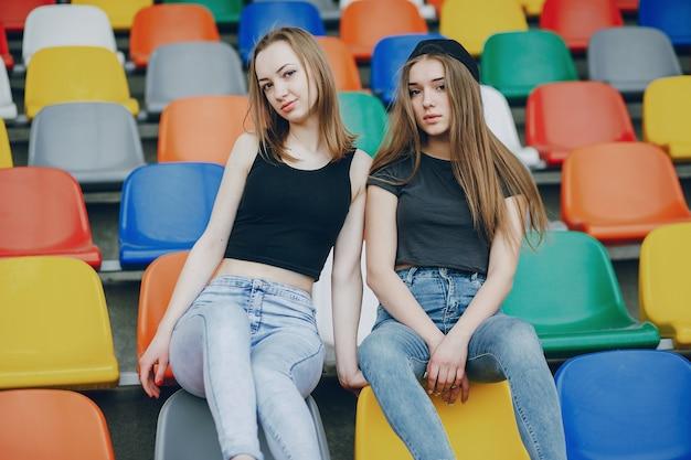 Girls on a stadium