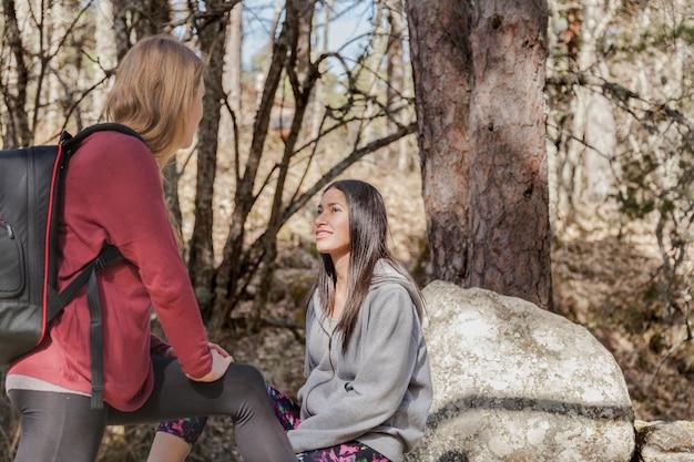 Девушки говорят в лесу