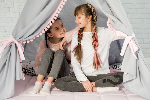 Girls in tent