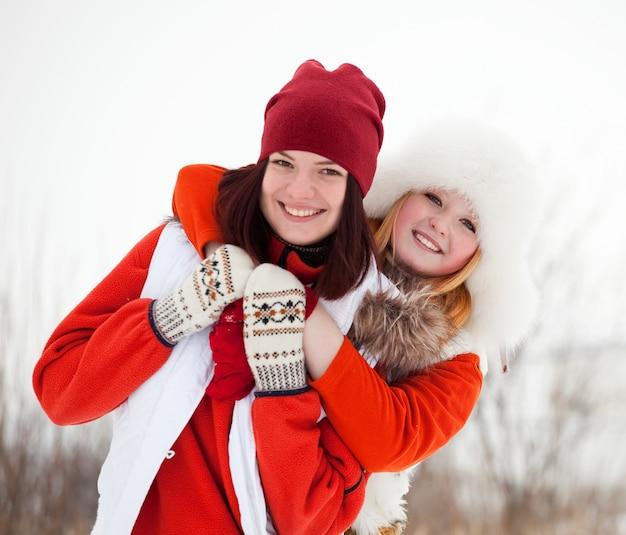 Girls  in winter park