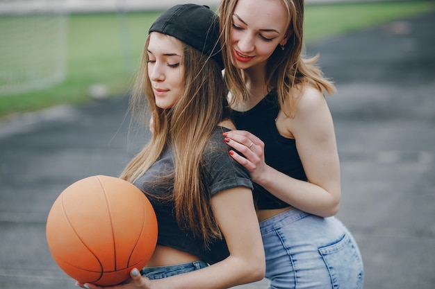 Girls with a ball