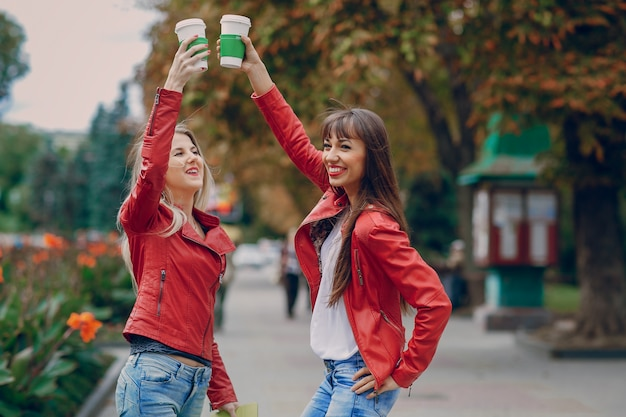 Girls with coffee cups