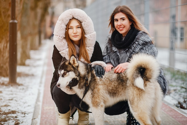 Girls with dog