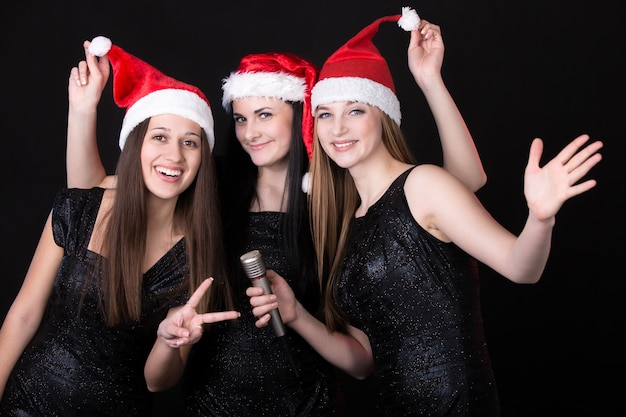 Girls with santa hat