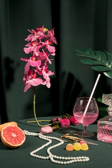 Girly still life arrangement on table