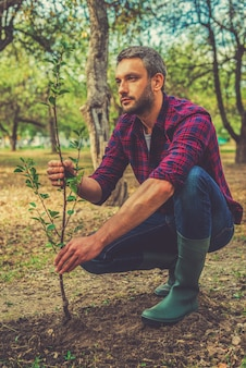 새로운 삶을 제공합니다. 정원에서 일하는 동안 나무를 심는 사려 깊은 청년