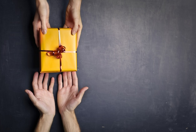 Giving present to each other