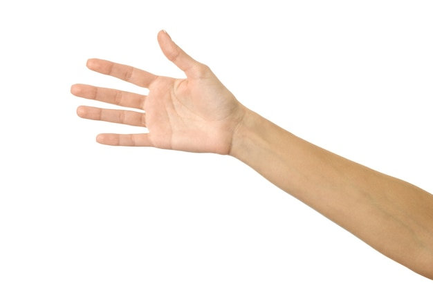 Giving, reaching or holding hand