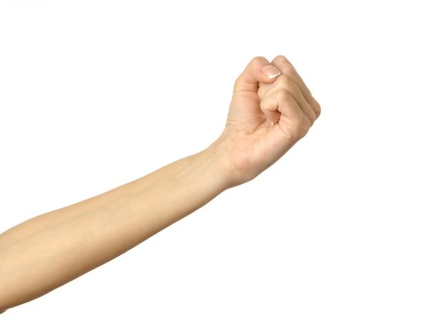 与える、手を伸ばす、または握る。白で隔離される女性の手ジェスチャー