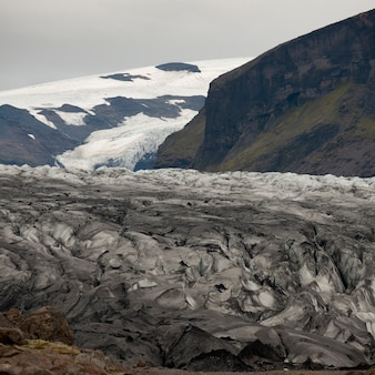 Glacier ice field in mountain valley