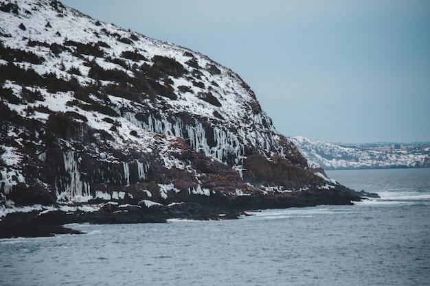 日中の氷河山の島