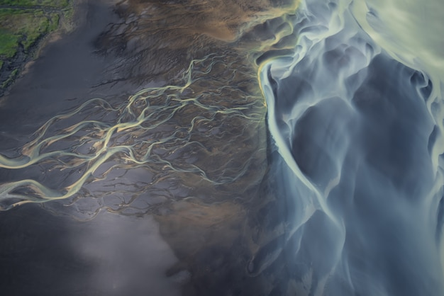 Glacier rivers in iceland from above