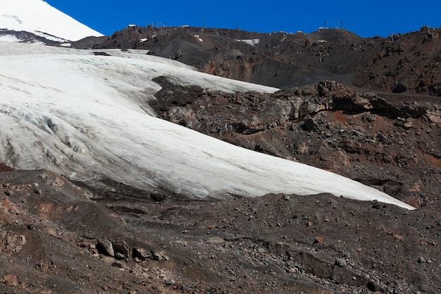 Glacier on the slope of mount elbrus in the north caucasus in russia.