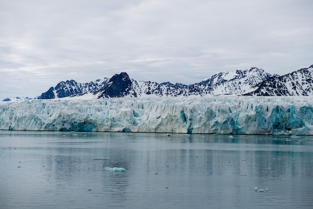 Glacier on svalbard, arctic - view from expedition vessel