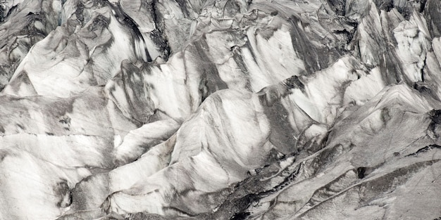 Glacier with many crevasses
