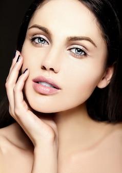 Glamor closeup beauty portrait of beautiful sensual  caucasian young woman modewith perfect clean skin