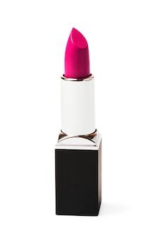 Glamor pink lipstick isolated on white