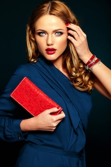 Glamour portrait of beautiful stylish woman model with fresh daily makeup with red lips.