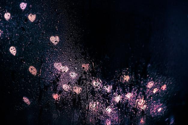 雨のしずくの窓からの夜の街のまぶしさ