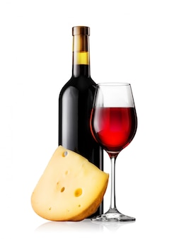 ガラスとチーズと赤ワインのボトル