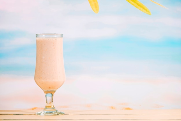 Glass of aromatic nutritious milkshake