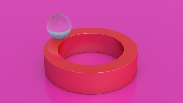 Glass ball on red ring. pink background. abstract illustration, 3d rendering.