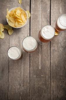 Glass beer on wood