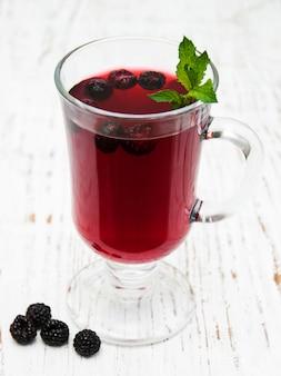 Glass of blackberry lemonade