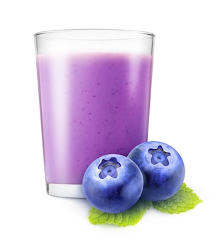 Glass of blueberry smoothie and two fresh blueberries isolated on white background