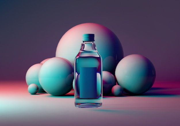 Glass bottle on blue and pink background with balls. 3d rendering mock up
