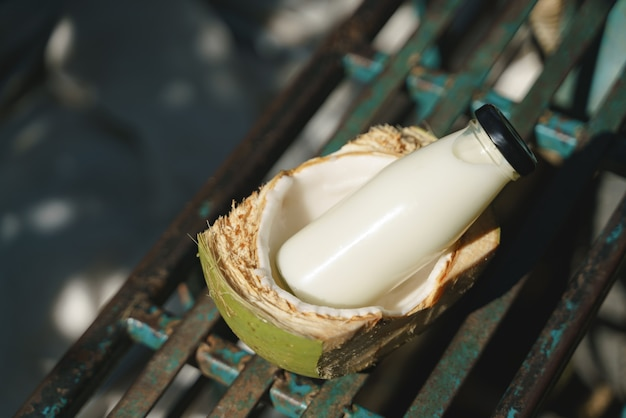 Glass bottle of coconut milk