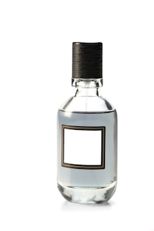 Glass bottle of men's toilet water. close up. isolated over white background. man perfumes. mockup