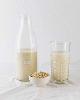 Glass and bottle milk and cereals