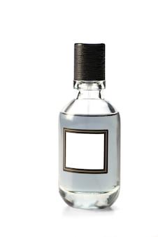 男性用トイレの水のガラス瓶。閉じる。白い背景の上に分離。男の香水。モックアップ