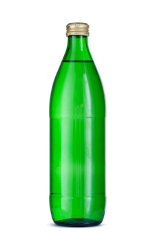 分離されたキャップとミネラルウォーターのガラス瓶