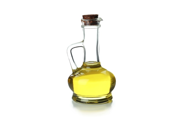 Glass bottle of olive oil isolated on white