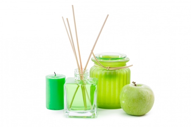 Glass bottle in room smell green chemical