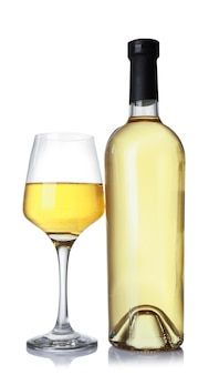 Glass and bottle of wine on white