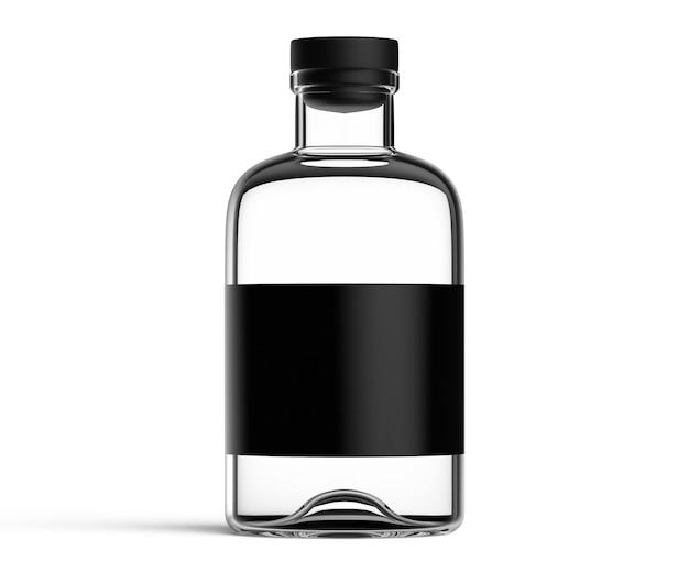 흰색 배경에 고립 된 검은 레이블이 있는 유리 병