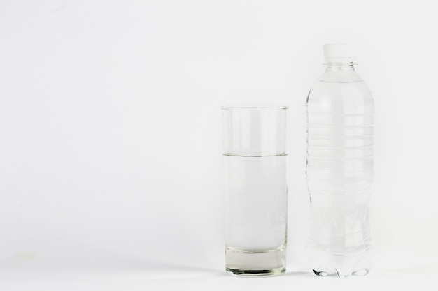 Glass and bottle with clear water