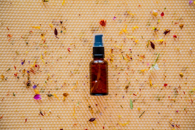 벌집에 마른 꽃과 유리 병입니다. 보기 위