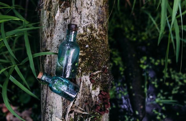 Стеклянные бутылки наполнены волшебными ингредиентами эликсиром таинственное озеро