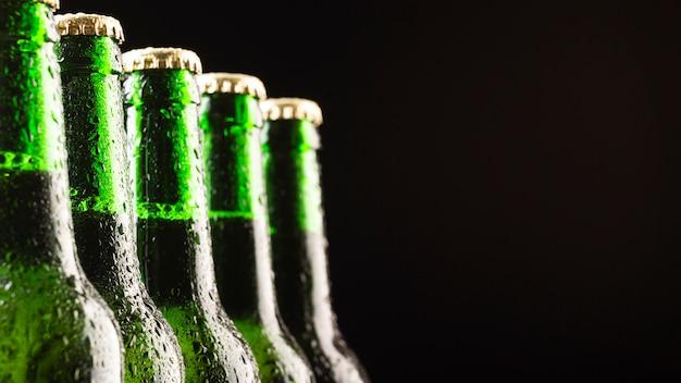 Glass bottles of cold beer