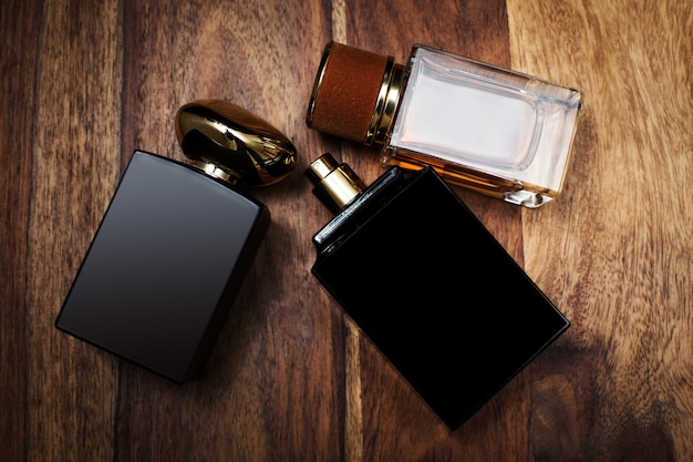 Glass bottles of male perfume