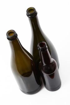 Glass bottles on white